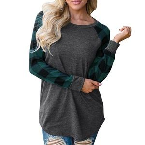 Plaid Long Sleeve Pullover Green Grey Top NWT